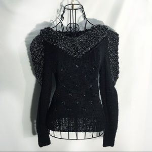 Sweaters - BLACK SILVER VINTAGE PUFF SHOULDER SWEATER SMALL